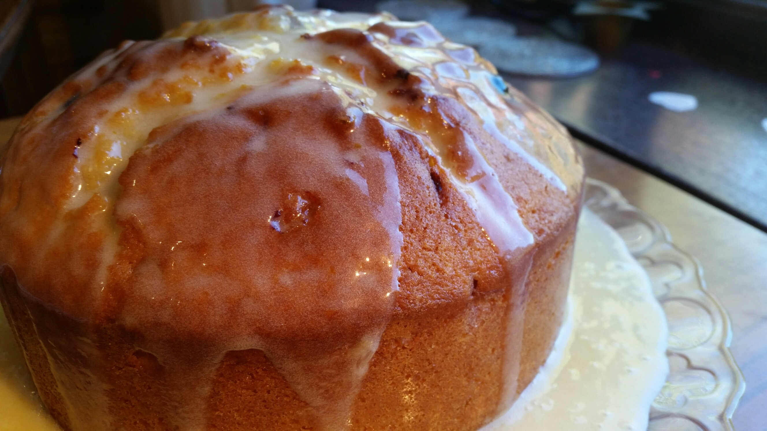 Blueberry passion fruit and lemon drizzle cake
