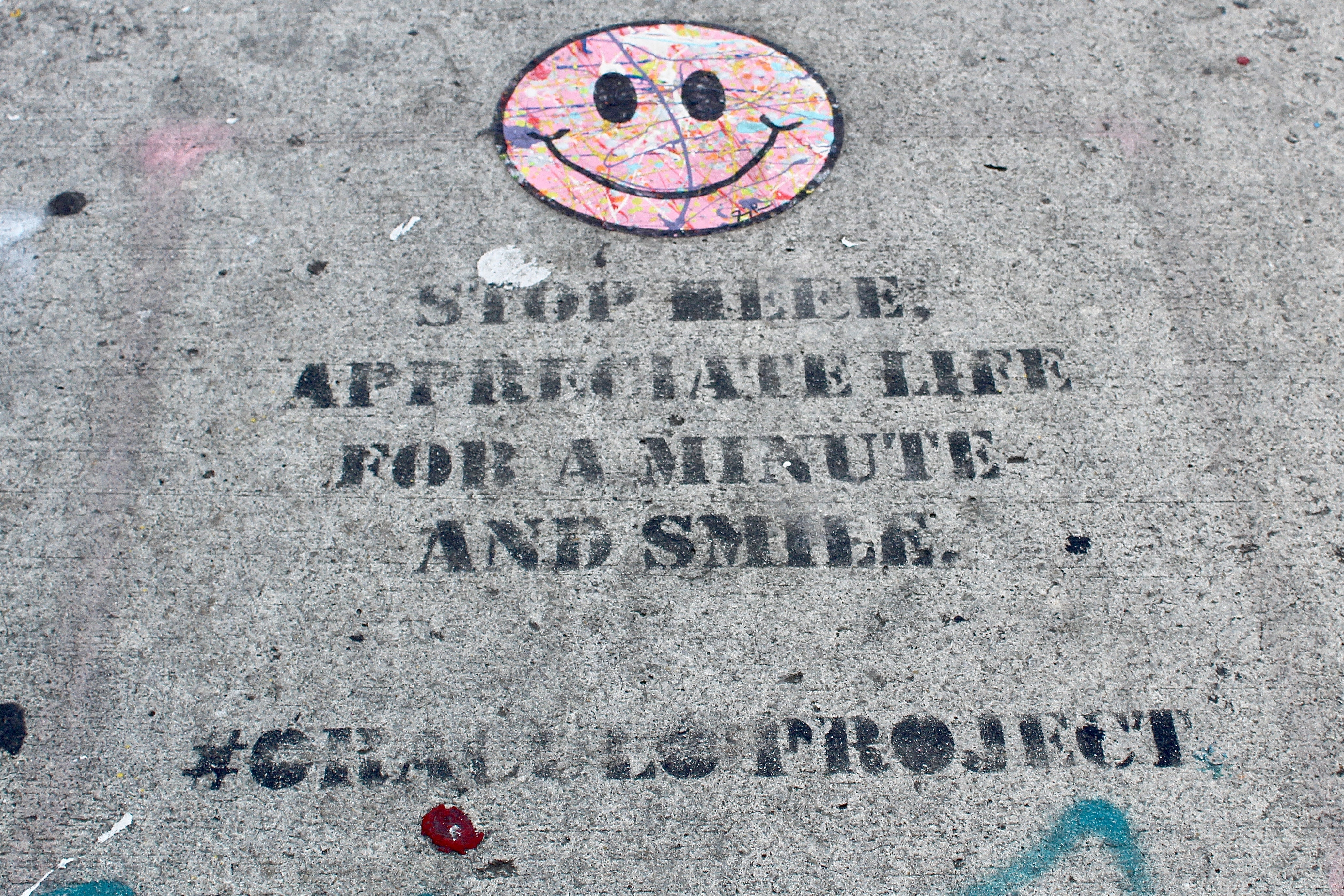 Stop and smile graffiti